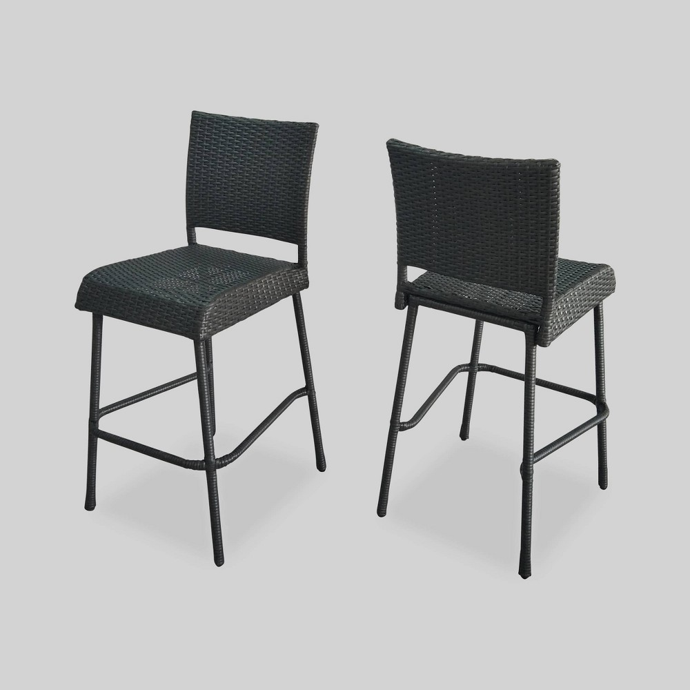 Neal Set of 2 Wicker 29 Barstools - Gray - Christopher Knight Home