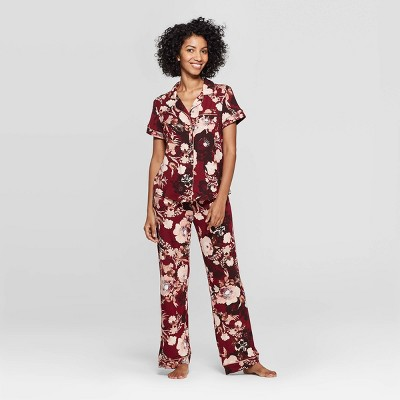 Women's Floral Print Beautifully Soft Notch Collar Pajama Set - Stars Above™ Burgundy XL