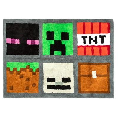 """3'4""""x4'6"""" Minecraft Accent Rug"""