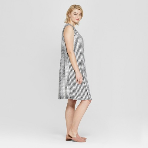 5f8f976759d Women s Plus Size Striped Sleeveless Midi Swing Dress - Ava   Viv™  Black White   Target