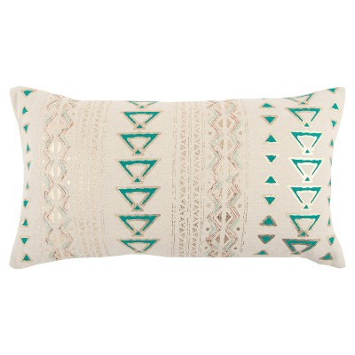 """14""""x26"""" Poly Filled Geometric Throw Pillow Teal - Rizzy Home"""