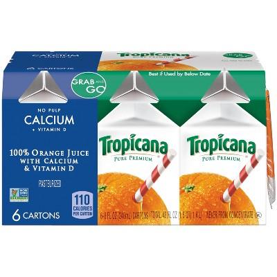 Tropicana Grab and Go No Pulp Calcium & Vitamin D 100% Pure Orange Juice - 6pk/8 fl oz Cartons