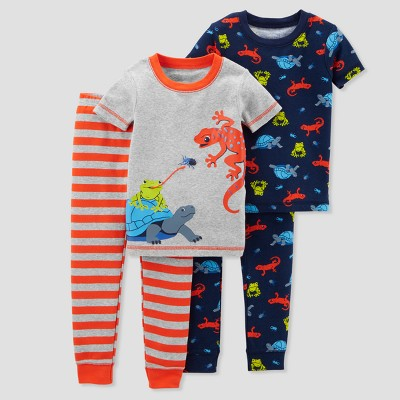 Baby Boys' 4pc Cotton Frog Pajama Set - Just One You® made by carter's Red 9M