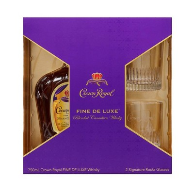 Crown Royal Fine De Luxe Canadian Whisky Gift Set - 750ml Bottle with Rocks Glasses