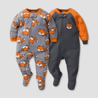 Gerber Baby Boys' 2pk Fox Footed Pajama - Black 24M