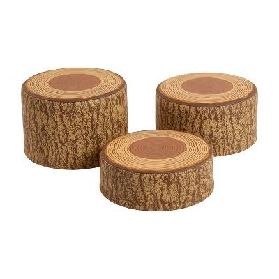 ECR4Kids SoftZone Tree Stump Stool Set, Flexible Classroom Seating, Multiple Seat Heights, 3-Piece