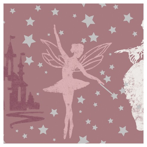 Tempaper - Kids  Princess Self-Adhesive Removable Borders + Stripes - Soft Pink & Metallic Silver - image 1 of 6