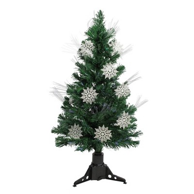 Northlight  3' Prelit Artificial Christmas Tree Fiber Optic with White Snowflakes - Multi-Color Lights
