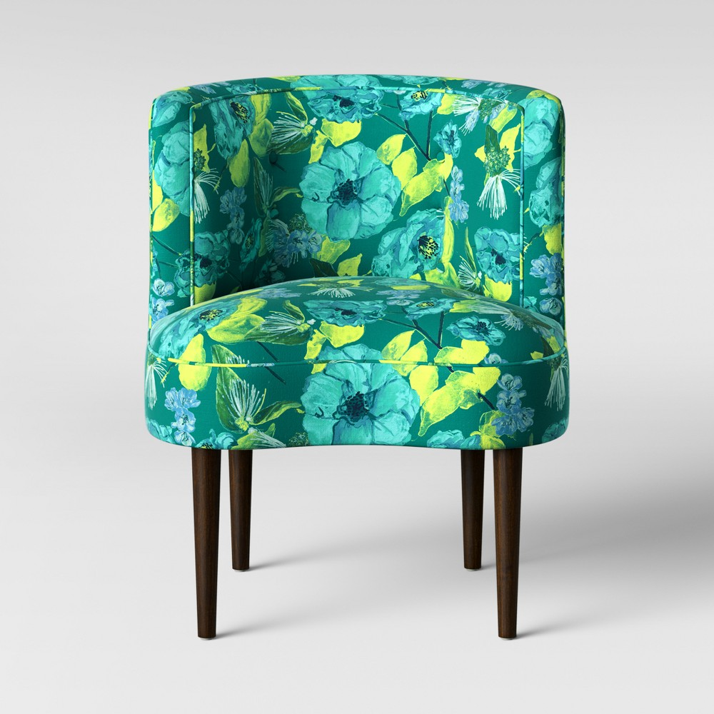 Clary Curved Back Accent Chair Green/Teal Floral - Opalhouse, Green & Teal Floral