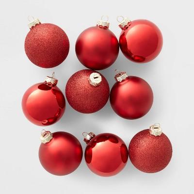 9ct Glass Round Christmas Ornament Set Red - Wondershop™