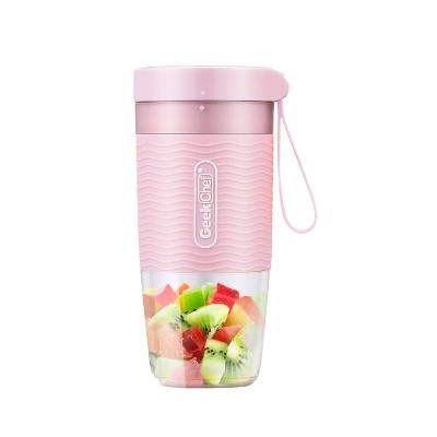 Geek Chef 10 Ounce Rechargeable Cordless Waterproof Mini Portable Blender/Blending Bottle with USB Cable Charger for Travel, Office, and Gym, Pink