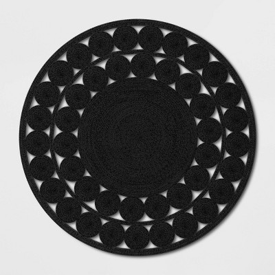6' Ornate Woven Round Outdoor Rug Black - Opalhouse™