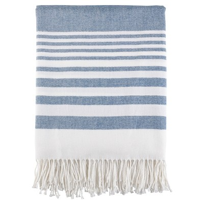 Navy Blue Stripe Pattern Fringe Throw Blankets (50 x60 )- Saro Lifestyle®