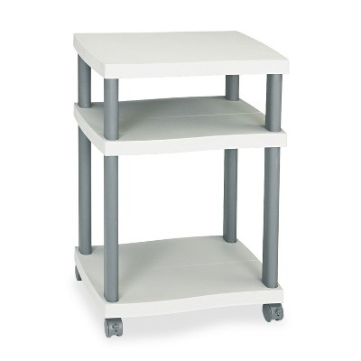 Safco Wave Design Printer Stand Three-Shelf 20w x 17-1/2d x 29-1/4h Charcoal Gray 1860GR
