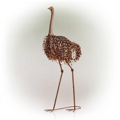 "45"" x 22"" Outdoor Metal Peaking Standing Ostrich Statue Brown - Alpine Corporation"