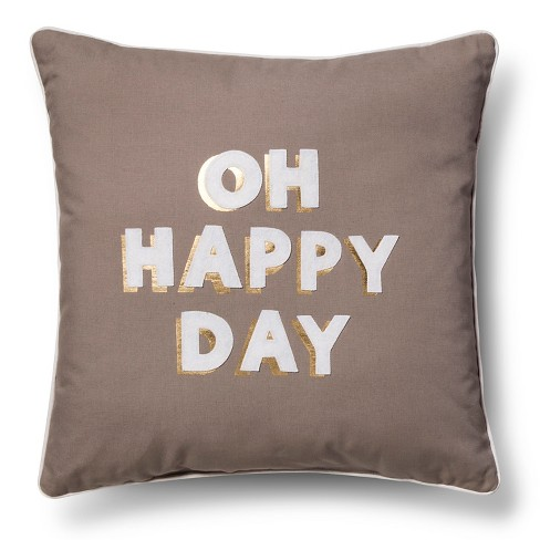 Cameo White Happy Day Throw Pillow - Room Essentials™ - image 1 of 6