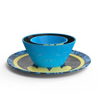 Batman 3pc Melamine Dinnerware Set - Zak Designs