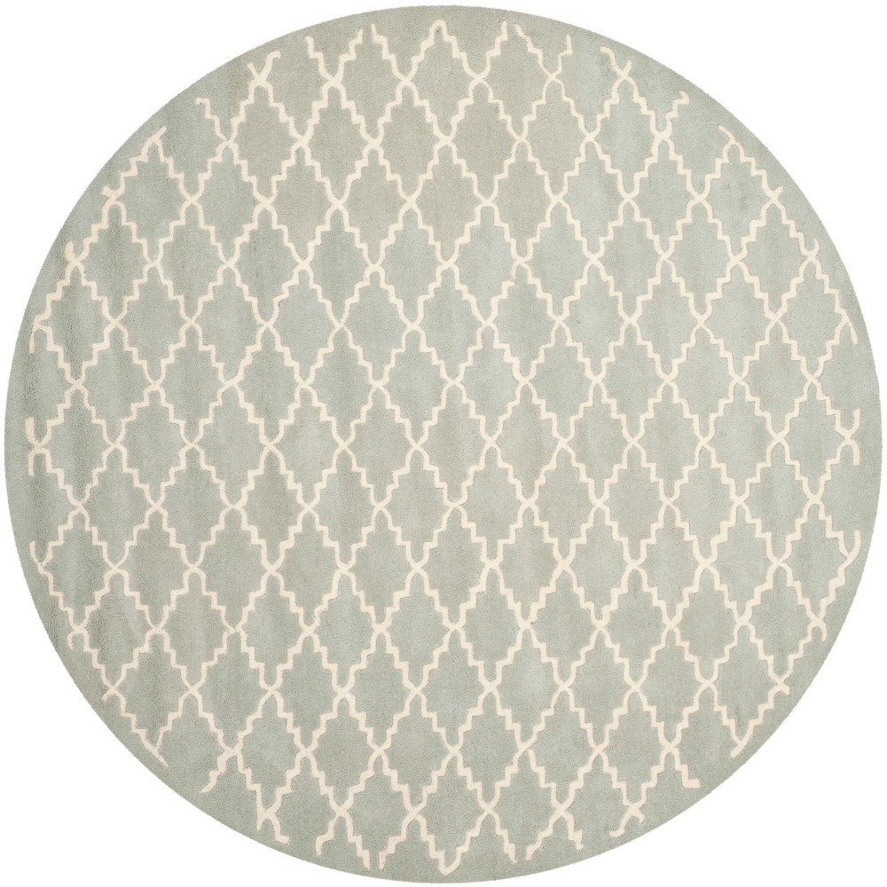 7' Quatrefoil Design Tufted Round Area Rug Light Blue/Ivory - Safavieh