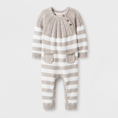 Baby Striped Sweater Romper with Two Front Pockets - Cat & Jack™ Gray 6-9M