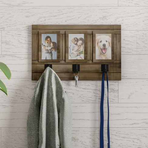 Wall Photo Collage With Hanging Hooks Brown - Lavish Home - image 1 of 3