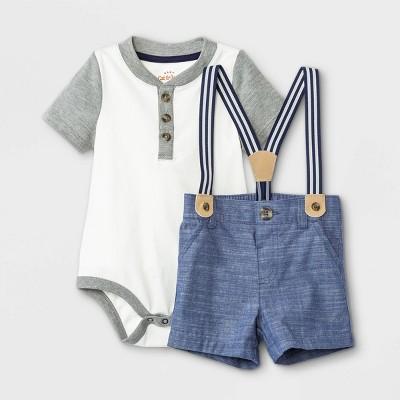 Baby Boys' Henley Suspender Top & Bottom Set - Cat & Jack™ Gray 3-6M