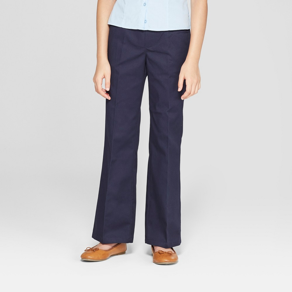 French Toast Girls' Woven Pull-On Uniform Chino Pants - Navy (Blue) 14