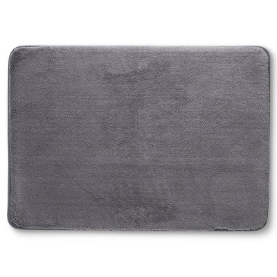 "17""x24"" Velveteen Memory Foam Bath Rug Gray - Room Essentials™"