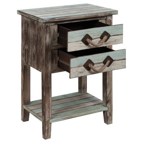 Nautical Two Drawer Accent Table Multicolored Christopher Knight