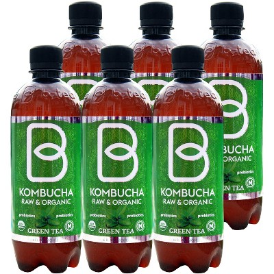 B-Tea Raw & Organic Green Tea - 6pk/16 fl oz Bottles