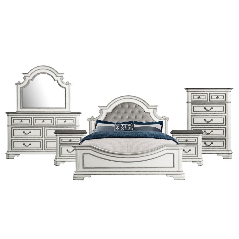 6pc King Caroline Panel Bedroom Set Antique White - Picket House Furnishings