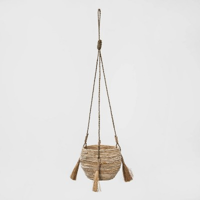 "9"" x 7.5"" Hanging Woven Planter Brown - Opalhouse™"