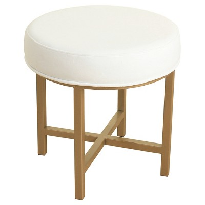 Circle Ottoman with White Velvet Fabric and Gold Metal X Base - HomePop