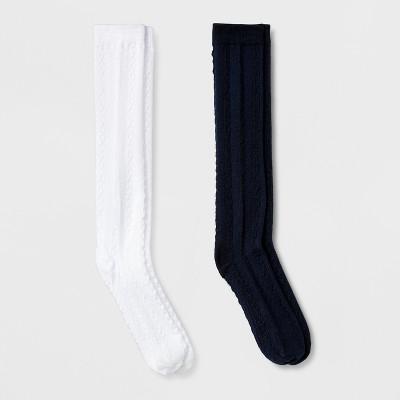 Girls' 2pk Cable Knee High Crew Socks - Cat & Jack™ Navy/White M