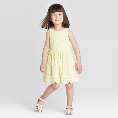 Toddler Girls' Floral Lace Scallop Hem Dress - Cat & Jack™ Yellow 12M