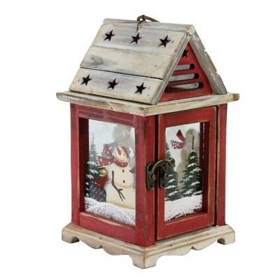 "Northlight 11"" Red and Brown Snowman Decorative Christmas Pillar Candle Lantern"