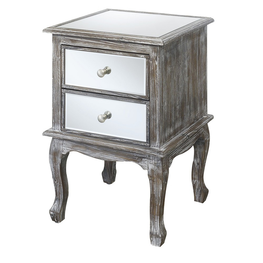 Gold Coast Queen Anne Mirrored End Table - Weathered Gray / Mirror - Johar Furniture