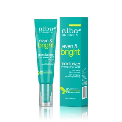 Alba Botanica Even & Bright Moisturizer - SPF 15 - 2oz
