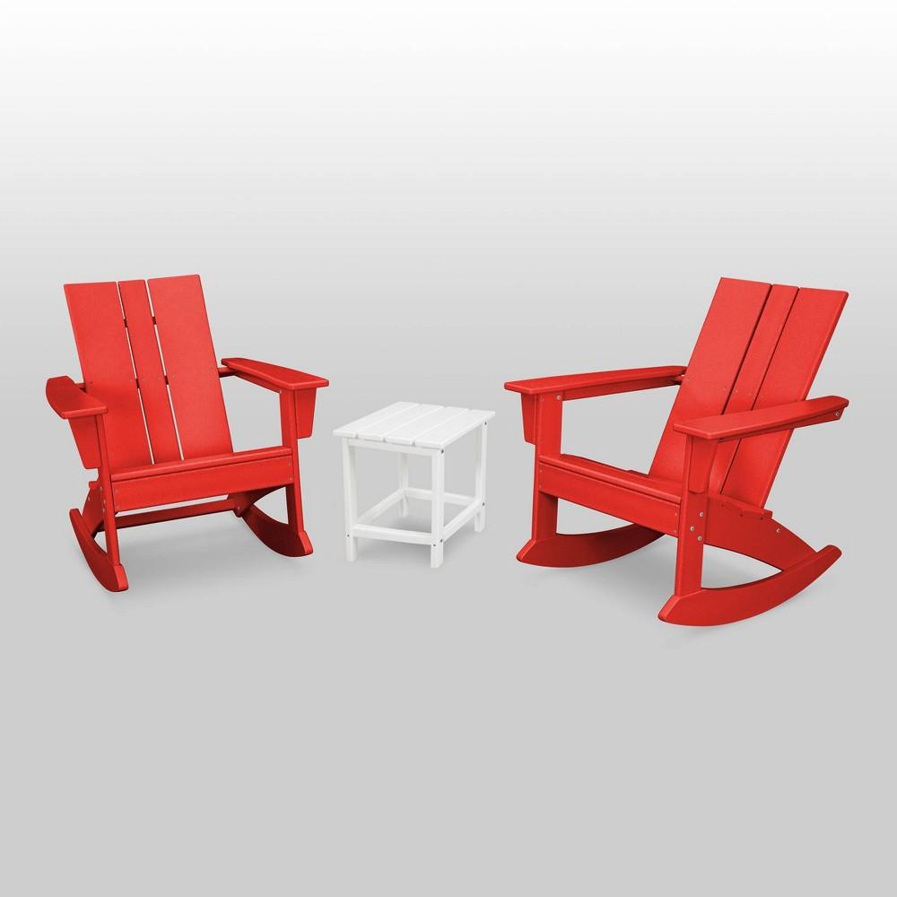 St. Croix 3pc Modern Adirondack Rocking Chair Set - Red/White - Polywood