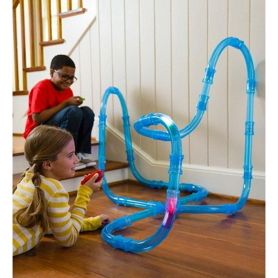 HearthSong - Tunnel Racer 71-Piece Race Car Tubular Track Set with 2 Glow-in-the-Dark Race Cars and 1 Cosmic Strobe Ball