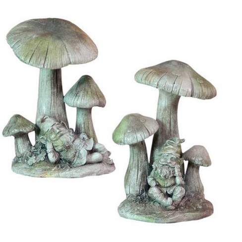 """Melrose Set of 2 Gnomes Under Mushrooms Outdoor Patio Garden Statues 11"""" - Gray - image 1 of 1"""
