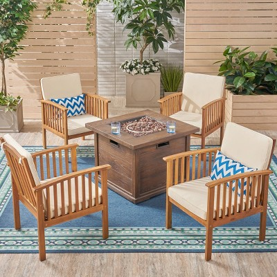Carolina 5pc Acacia Club Chairs with Firepit - Brown/Cream - Christopher Knight Home
