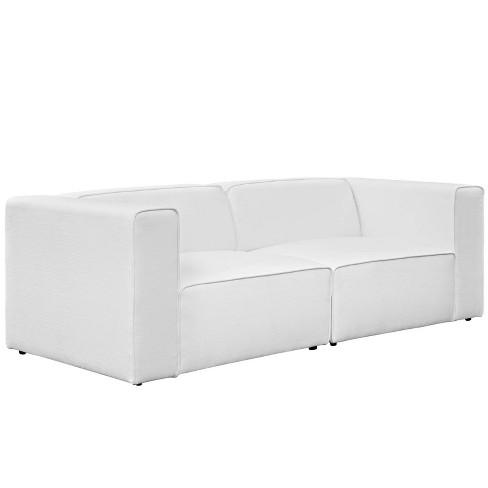 Tremendous Mingle 2Pc Upholstered Fabric Sectional Sofa Set White Modway Ibusinesslaw Wood Chair Design Ideas Ibusinesslaworg