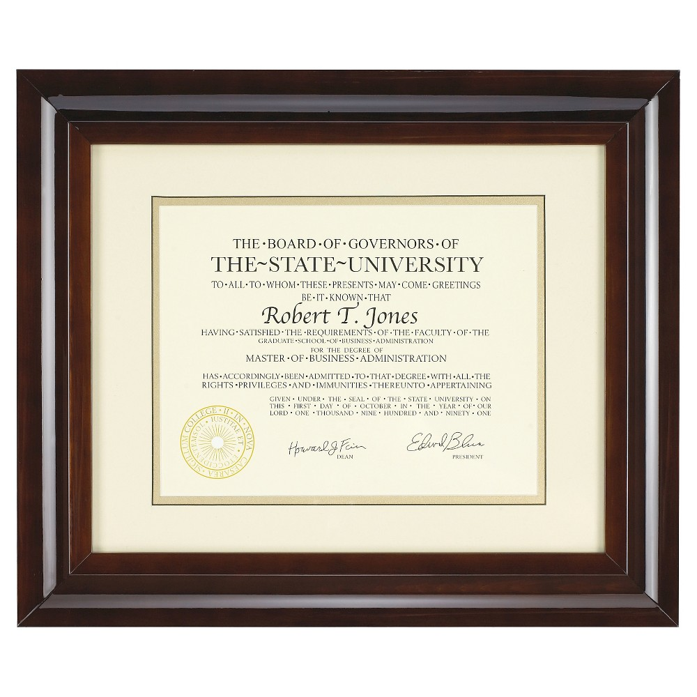 "Image of ""8.5"""" x 11"""" Document Frame Walnut - Pinnacle Frame"""