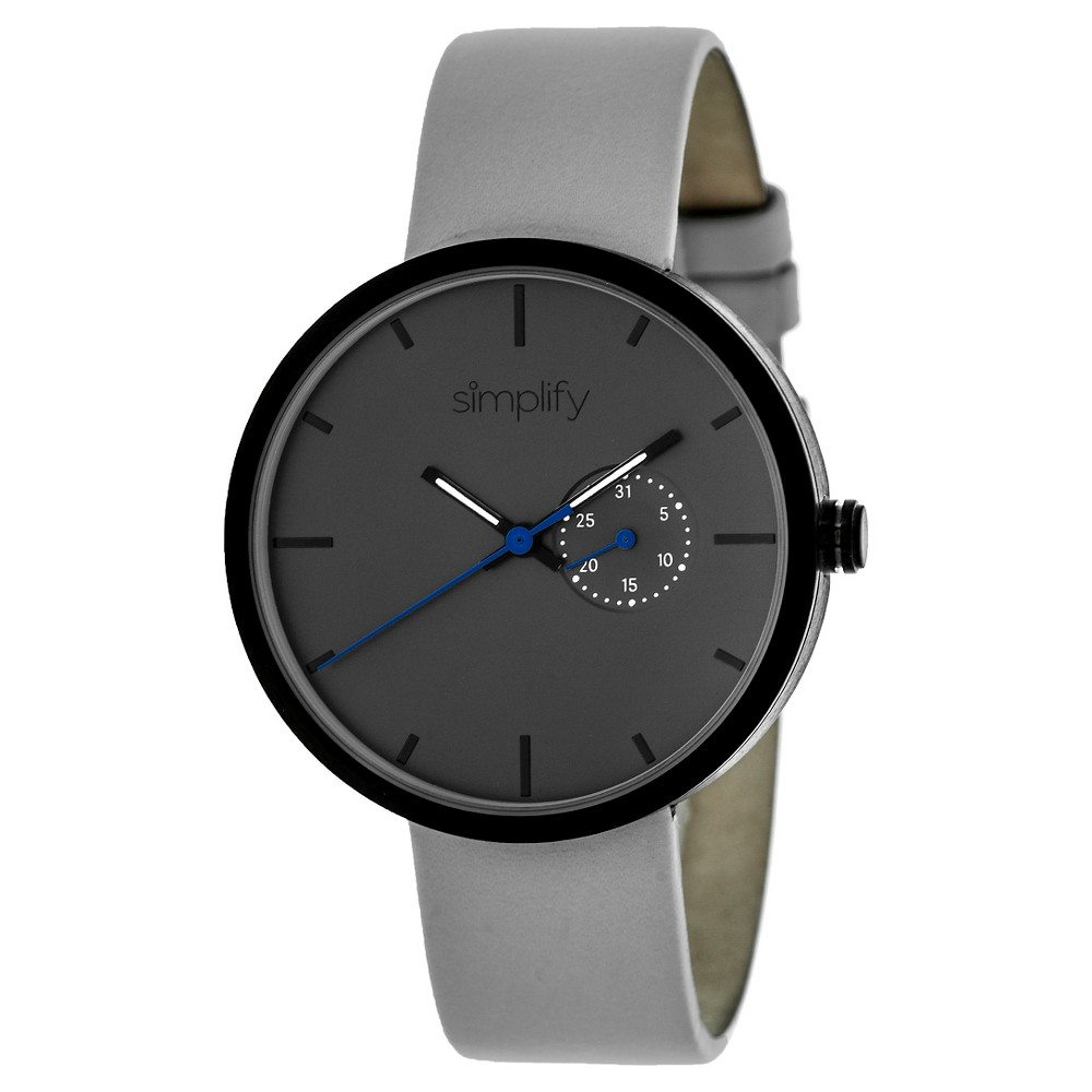 Simplify The 3900 Men's Leather Strap Watch - Gray