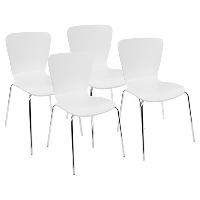 Woodstacker Contemporary Dining Chairs (Set Of 4)- White - Lumisource