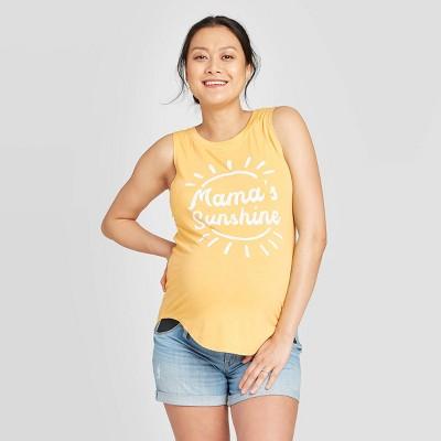 Maternity Mamas Sunshine Graphic Tank Top - Isabel Maternity by Ingrid & Isabel™ Yellow