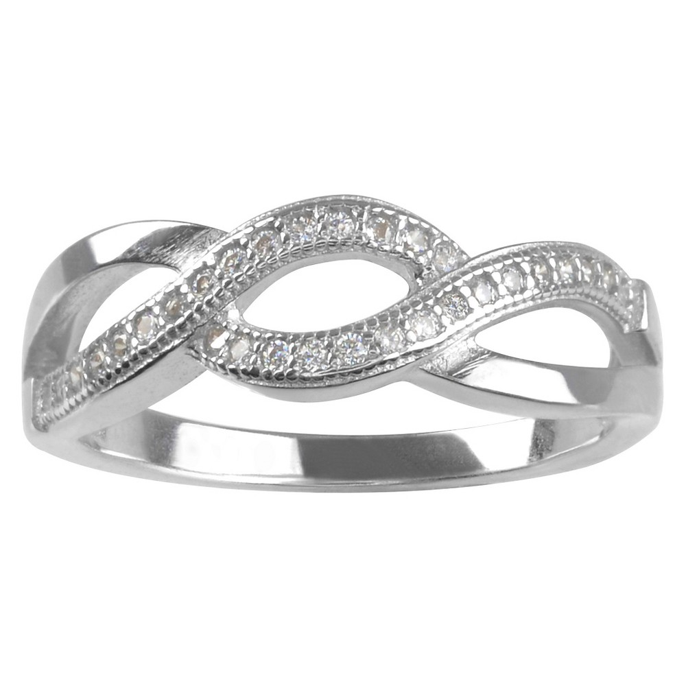 1/3 CT. T.W. Round-cut CZ Pave Set Loop Design Ring in Sterling Silver - Silver, 6, Girl's