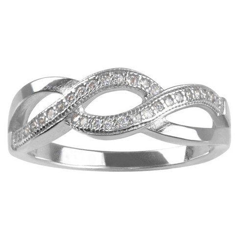 1/3 CT. T.W. Round-cut CZ Pave Set Loop Design Ring in Sterling Silver - Silver - image 1 of 2