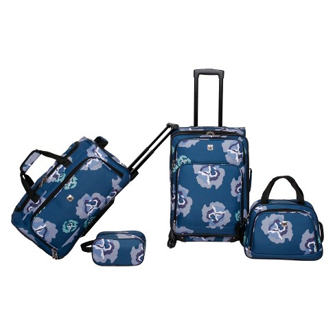 Skyline 4pc Luggage Set - Blue Floral - image 1 of 14