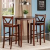 3 Piece Fiona Set High Round Table with V-Back Bar Stools Wood/Walnut - Winsome - image 2 of 4